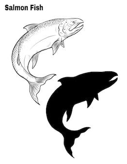 Zalm vissen vector met de hand tekening