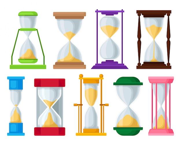 Zand zandloper set, zandloper apparaten voor het meten van tijd illustraties op een witte achtergrond