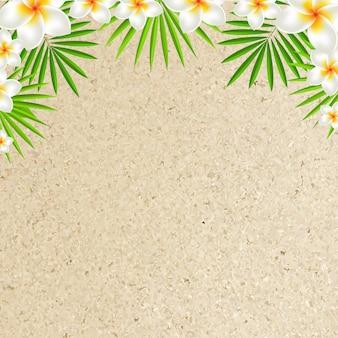 Zandachtergrond met frangipani, met verloopnet,