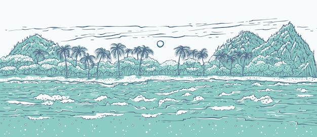 Zandig tropisch eiland met golven van de zee, surfen en palmbomen.