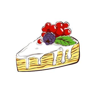 Zandige dessertcake gedrenkt in meringue en gegarneerd met bramen en rode aalbessen vector