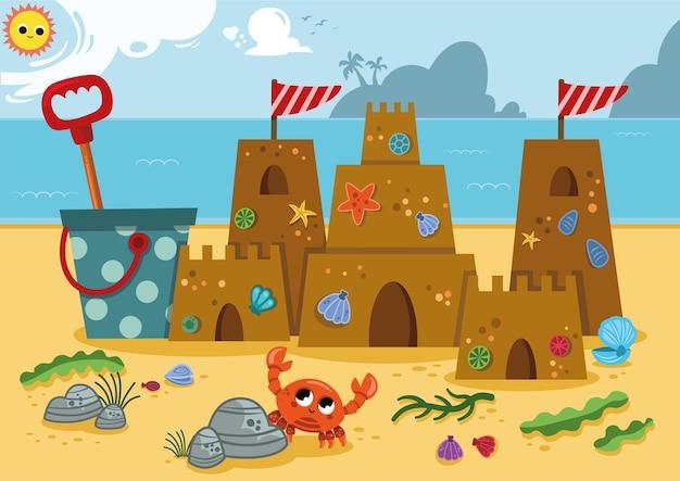 Zandkasteel aan de kust van de oceaan vectorillustratie