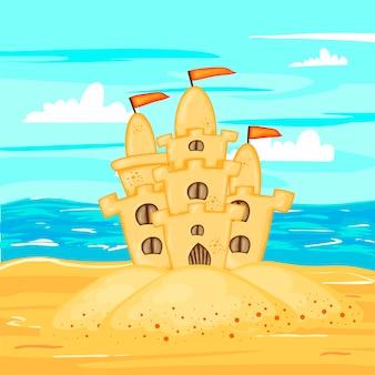 Zandkasteel op het strand aan het water.