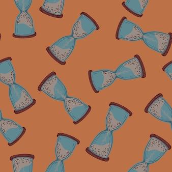 Zandloper blauwe silhouetten afdrukken naadloos patroon