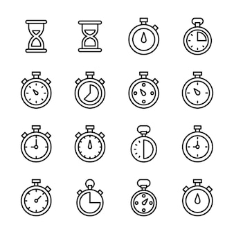 Zandloper en chronometer line vectors pack