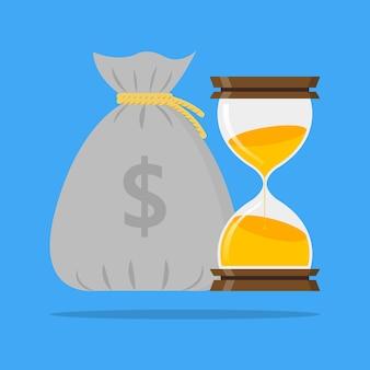 Zandloper en zak geld tijd is geld