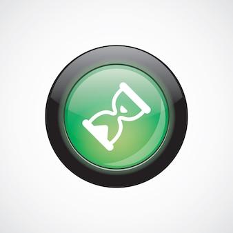Zandloper glas teken pictogram groene glanzende knop. ui website knop