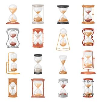 Zandloper glazen klok met stromend zand en zandloper geklokt in de tijd illustratie klok alarmtimer tot afteltijd ingesteld op witte achtergrond