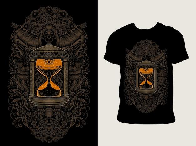 Zandloper gravure ornamentstijl met t-shirtontwerp