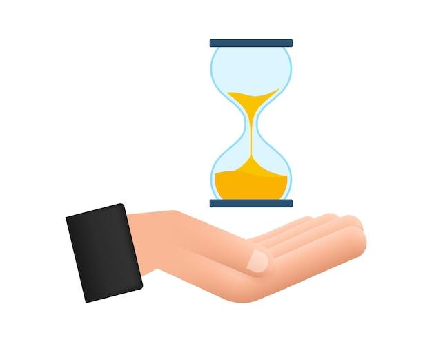 Zandloper in handen. zandloper timer zand als countdown. vector voorraad illustratie.