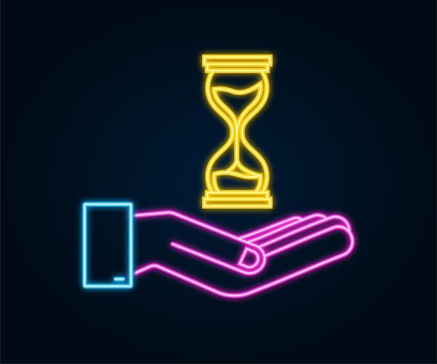 Zandloper neon icoon in handen. zandloper timer zand als countdown. vector voorraad illustratie.