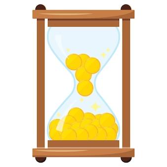 Zandloper of sandglass met geld geïsoleerd op een witte achtergrond. vectorillustratie van vintage houten zandloper met gouden munten. vlakke stijl cartoon design gekleurde klokpictogram. tijd is geldconcept.