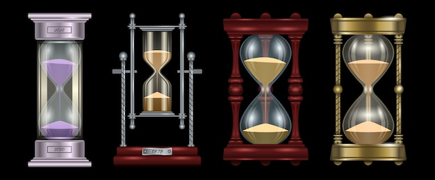 Zandloper realistisch ingesteld pictogram. illustratie zandloper