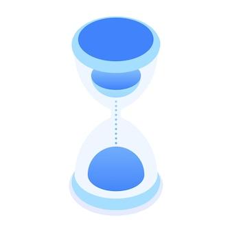 Zandloper timer vector pictogram in isometrische stijl geïsoleerd op een witte achtergrond