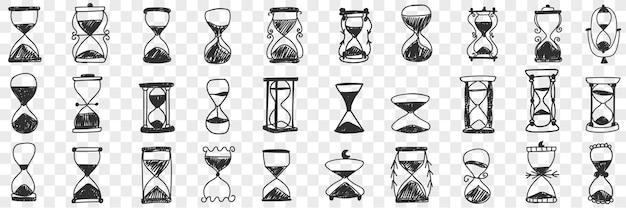 Zandlopers in rijen doodle set