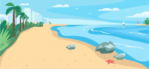 Zandstrand en zee egale kleur vectorillustratie. tropische badplaats. zomervakantie. kustlijn met wolkenkrabbers en exotische palmbomen. landschap van het kust het 2d beeldverhaal met stad op achtergrond