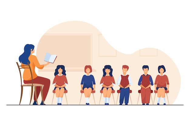 Zangcoach lesgeven aan groep kinderen. muziekleraar, koor van kinderen in de klas platte vectorillustratie. muziekles, onderwijs, hobby