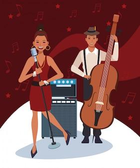 Zanger en muzikant met instrumenten, jazzband