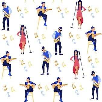 Zanger en muzikanten spelen gitaar, saxofoon.