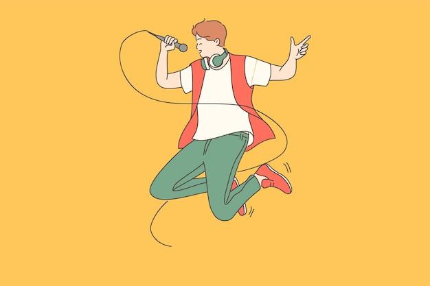 Zanger, hipster, positief levensstijlconcept.