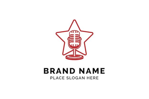 Zanger ster logo sjabloon microfoon silhouet binnen ster