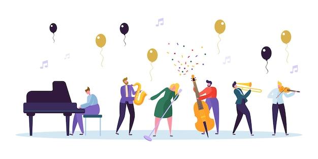 Zangeres en jazzband concert image. muzikant karakter met muziekinstrument contrabas saxofoon piano viool trompet. leuke viering show concept platte cartoon vectorillustratie