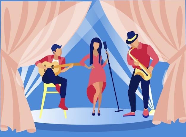 Zangers en muzikanten die jazz op het podium uitvoeren.