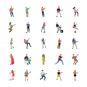 Zangers en muzikanten vlakke personages