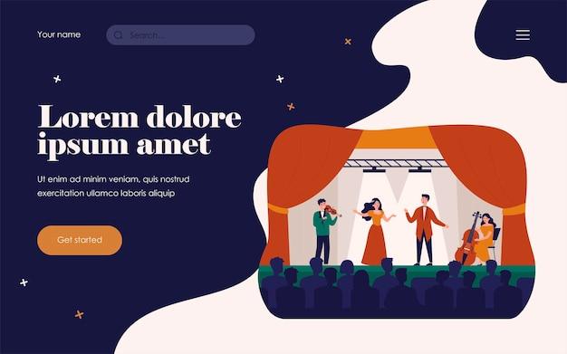 Zangers spelen in tragedie opera voor publiek geïsoleerd platte vectorillustratie. cartoon vrouw en man drama lied zingen op het podium. theater- en muziekconcept