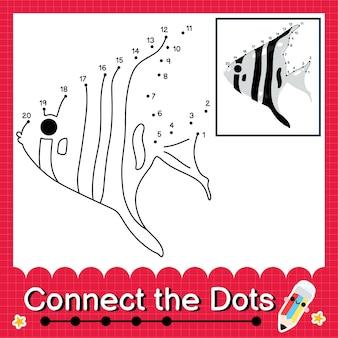 Zebra angelfish kinderpuzzel verbind de stippen werkblad voor kinderen die de nummers 1 tot 20 tellen