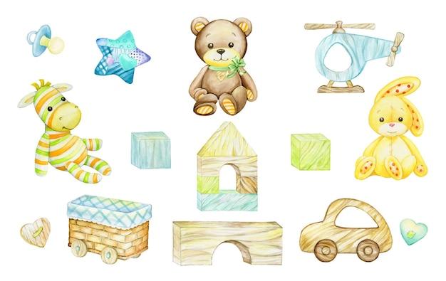 Zebra, beer, konijn, houten speelgoed. aquarel illustraties, in cartoon stijl, op een geïsoleerde achtergrond. voor ansichtkaarten van kinderen en feestdagen.