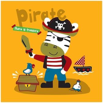 Zebra de piraten grappige dieren cartoon