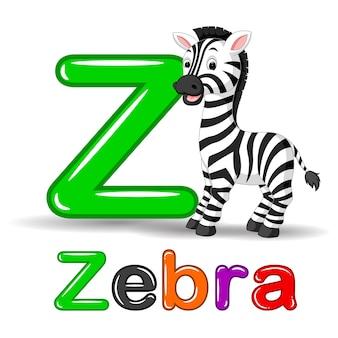 Zebra dier en letter z voor kinderen abc onderwijs