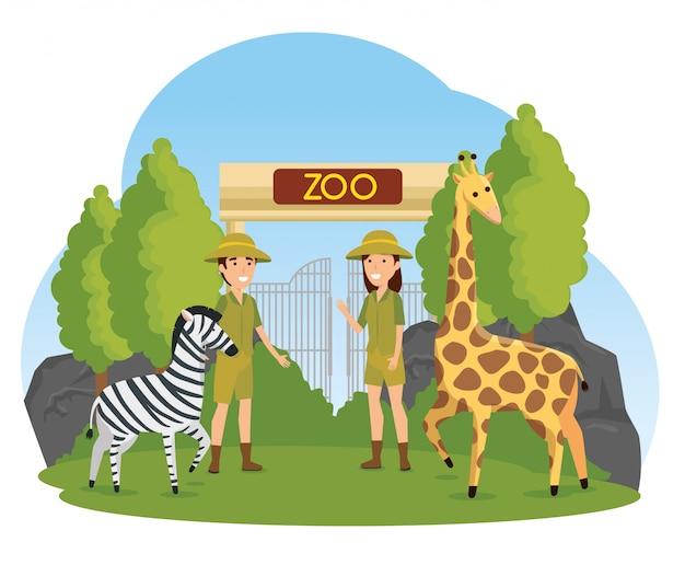 Zebra en giraf wilde dieren met safarimensen