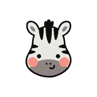 Zebra hoofd vectorillustratie voor kinderdagverblijf