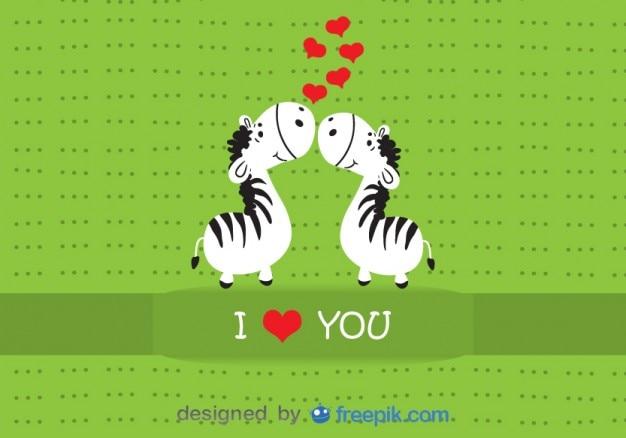Zebra kussen valentijnsdag cartoon kaart