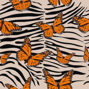 Zebra naadloos patroon. dierenprint met vlinders.