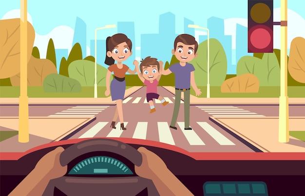 Zebrapad. gezinsveiligheid kruist de weg, let op de verkeersregels, moeder, vader en zoontje kruisen rijbaan automobilist stoppen bij rode lichten platte vector stripfiguren op stadslandschap