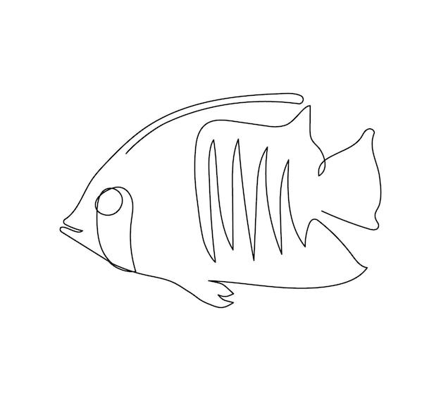 Zebrasoma xanthurum doktersvissen lijntekening een lijn kunst van exotische tropische vissen zeevruchten