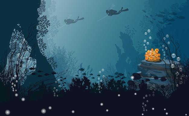 Zee achtergrond onder silhouet, zwarte duiker koraal en bubbels