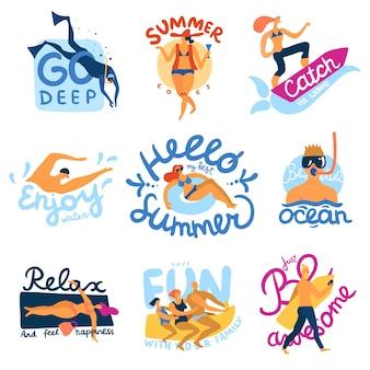 Zee activiteiten emblemen set met zomer symbolen platte geïsoleerde vector illustratie