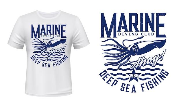 Zee avontuur duiken nautische mariene weekdier t-shirt embleem