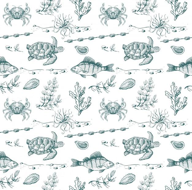 Zee bewoners schets. naadloos patroon. zeeschildpad, vis, krabben, zeewier.