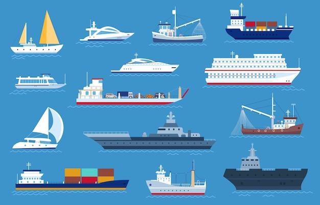 Zee boten. visserij- en vrachtschepen, jacht, scheepvaartboot, cruise oceaanstomer, motorboot en militair oorlogsschip. zeilboot vervoer vector set. luxe particulier en industrieel vervoer