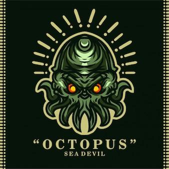 Zee duivel octopus t-shirt ontwerp