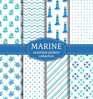 Zee en nautische naadloze patronen instellen.