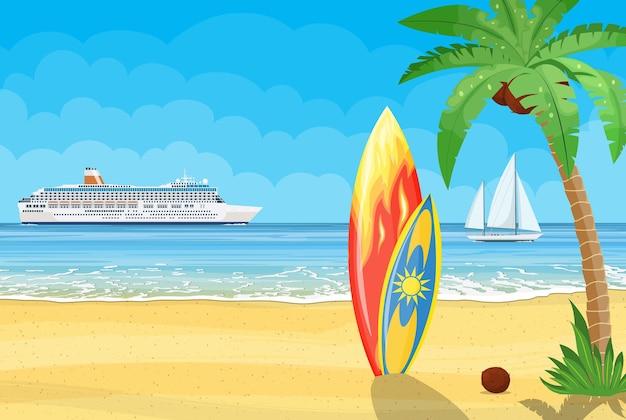 Zee en zand paradijsstrand van de zee met cruiseschip. vakantie zee zomer met gekleurde surfplank. illustratie in vlakke stijl