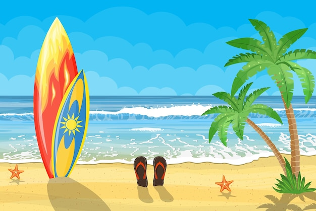 Zee en zandstrand. vakantie zee zomer met gekleurde surfplank. illustratie in vlakke stijl