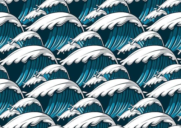 Zee golven hawaii naadloze patroon, mode achtergrond.