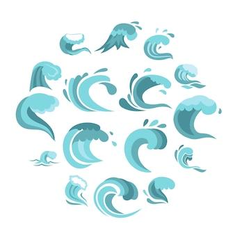 Zee golven instellen plat pictogrammen